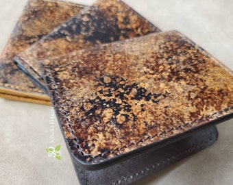 Leather Wallet, Handdyed, Granite, Classic Wallet, Leather Bifold, Billfold Wallet, Unique Wallet, Functional Art, Leather Anniversary