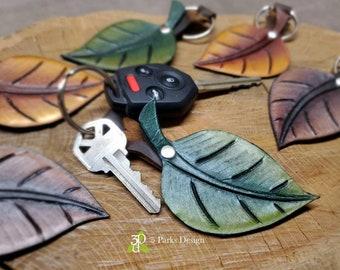 Leather Key Fob, Leaf Keychain, Tooled Leather, Leaf Dangle, Tooled Key Chains, Leather Keychain, Purse Charm, Leather Leaf, Cute Keychain