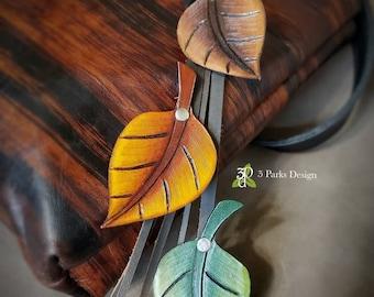 Leather Bag Charm, Tooled Leather, Leaf Dangle, Tooled Key Chain, Decorative Fan Pull,  Leather Leaf, Leather Purse Charm, Purse Accessories
