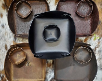 Leather Valet Tray, Catchall Tray, Leather Tray, Leather Catch All, Trinket Tray, Organizer, Desk Accessories, Rustic Decor, Leather Desk