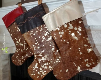 Leather Stocking, Cowhide Stocking, Hair on Hide, Christmas Stockings, Christmas Decor, Leather Decor, Cowhide Decor, Cowhide Christmas