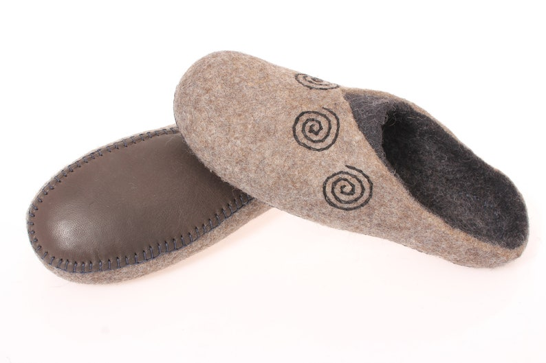 c54107c3125c Wool felted slippers with leather solewool clogs for men