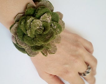 Green felted Bracelet, felted flowers cuff, eco friendly womens accessories, floral bracelets