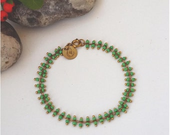 Bracelet, with Green Mini Glass Pearls