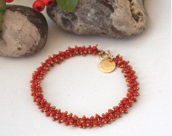 Bracelet, with Coral Red Mini Glass Pearls