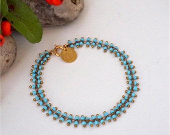 Bracelet, with Turquoise Blue Mini Glass Pearls