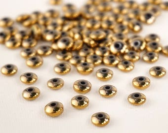 10 golden bronze, 3/6 mm pearls Donuts