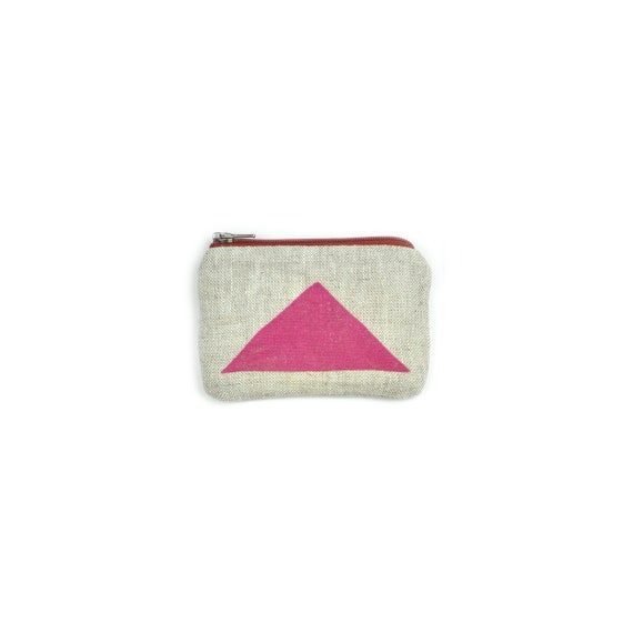 Coin Purse with Red Metal Zipper Orange Triangle Blockprint