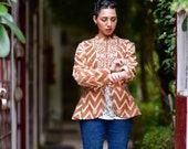 Small, Isak, Brown Chevron Floral Print Jacket, Vintage Up cycled Fabric, Handmade Kantha Jacket