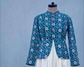 Medium-Catherine, Handmade Kantha Jacket, in Blue and Black Floral Print kinchebyPayal