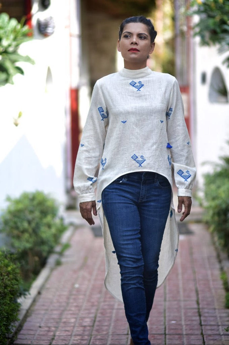 Small Mecca Pure Organic kalacotton high low blouse with hand Embroidery