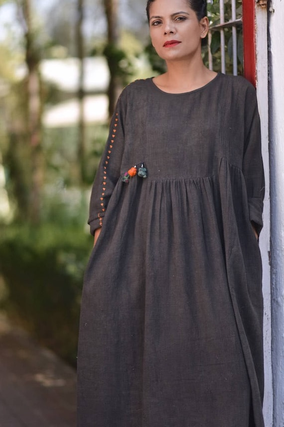 pure handloom dress Small Pinsk Black cotton kala UqwxnEvgB