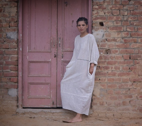 Organic Cotton amp; Kala Stripes With Embroidery Mumbai Long Dress Charcoal FxZnqnwSv