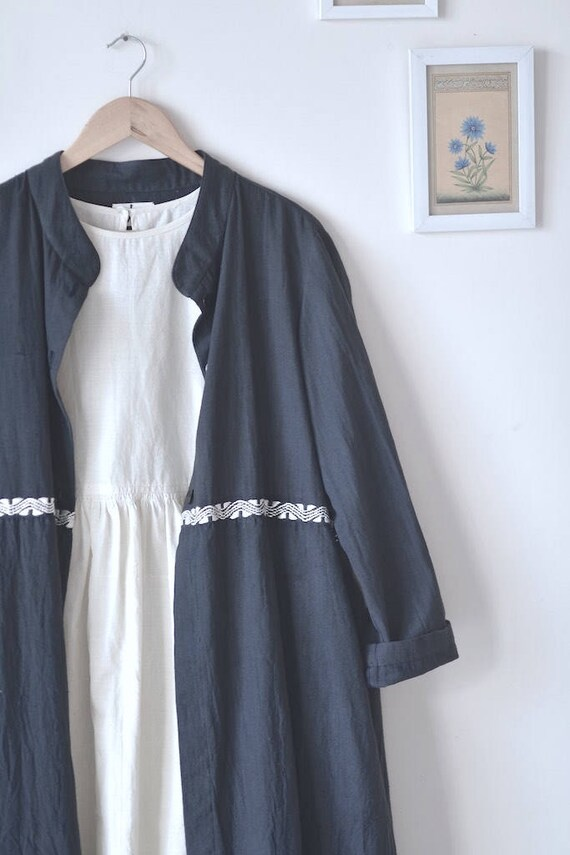 Jacket with Khadi Hand Muslin Kabul dress Hand White Embroidery Embroidered Made 6xwpgqqIt