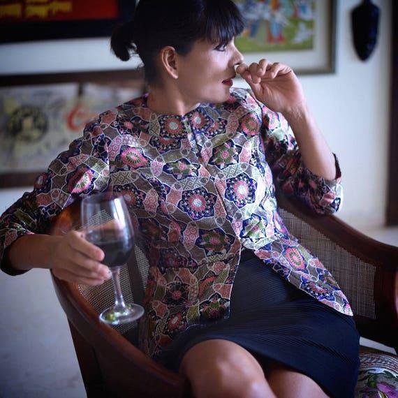 Tsamla Ochre Saga Nishiki Tsonkhang Medium Japanese Color Brocade in Jacket Beautiful q5RO5wSyzZ