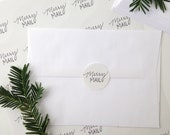 "Sheet of 30 Round 1.5"" Stickers, Merry Mail Handlettered Stickers, Merry Christmas Stickers, Seals, Labels, Christmas Seals, Handlettered"