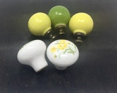 Set of 5 Ceramic Vintage KNOBS Pulls Matching Sunflower Colors