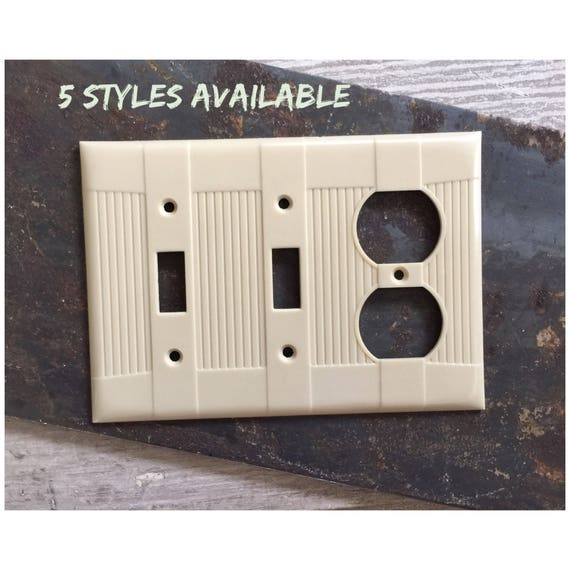 VINTAGE NIP HD IVORY BAKELITE SWITCH OUTLET PLATE COVER NOS USA