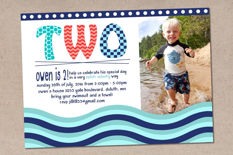 Swim Party Invitation // Beach Party Invites for Kids // | Etsy