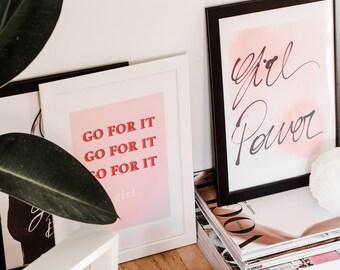 Girl Power Pink Print Motivational Print for Girl Bosses Desk Decor Blogger desk gift idea