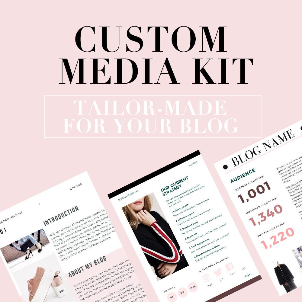 Media Kit for custom tailored fashion beauty and lifestyle blogger service  and creation of personal media kit