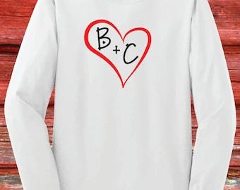 Girls Monogram Valentines Day Shirt Youth Long Sleeve Red Etsy