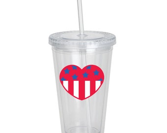 4th of July 4 Independence Day Patriotic American Flag Heart Red White Blue Drink Tumbler Personalized Gift Party