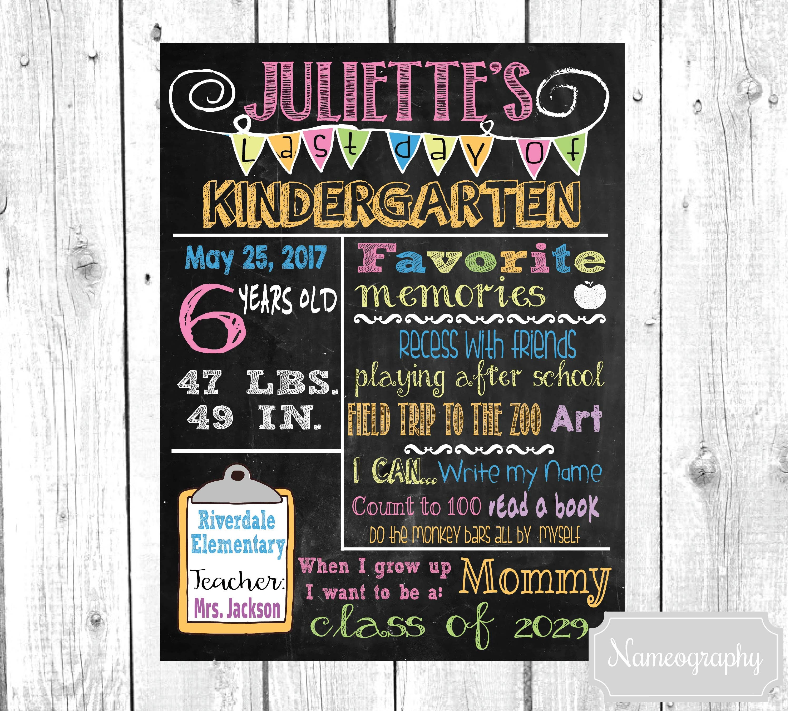 Last Day of School Chalkboard Printable Poster for Girls or Boys-Any Grade-  INTRO PRICE! Custom Digital File