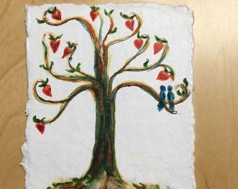 """Handmade Watercolor Card approx. 4.5""""x6"""". Two love birds in a family tree of heart-shaped flowers / anniversary card for couples or families"""