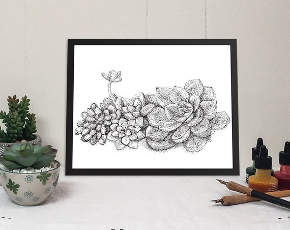 11x14 matted print of a succulent garden stippled pen & ink drawing