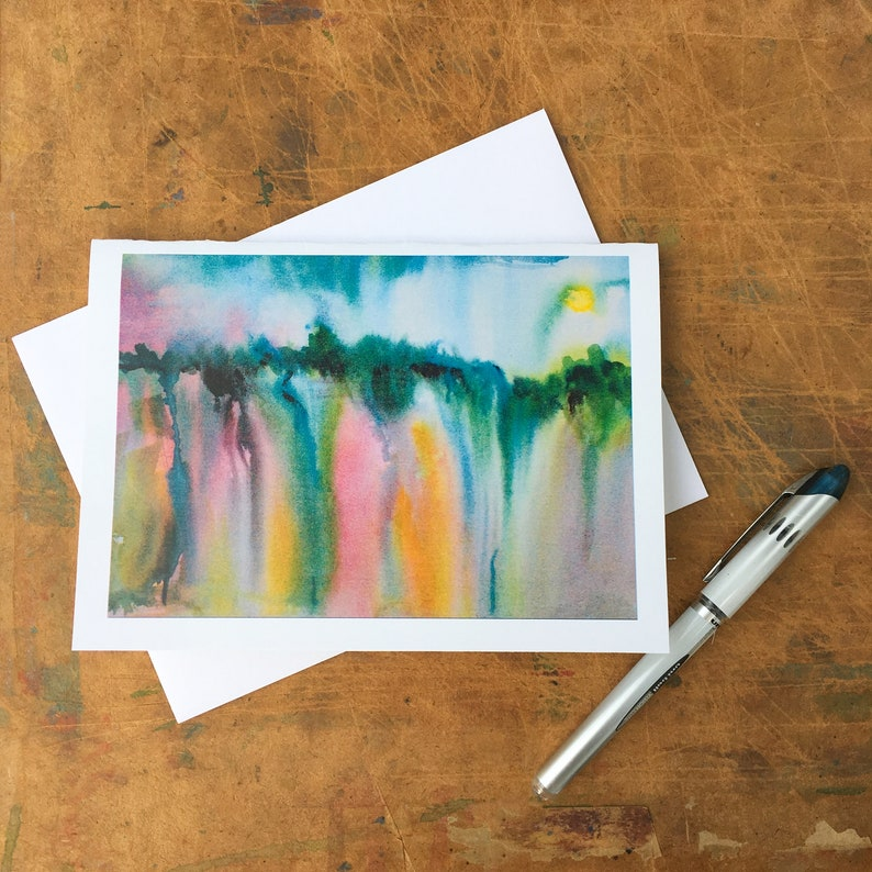 Watercolor abstract landscape in rainbow rain-washed colors is image 0