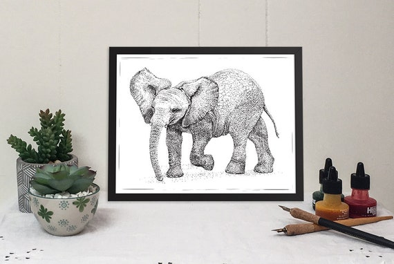 11x 14 Matted print of a dancing baby elephant in black and white pen & ink