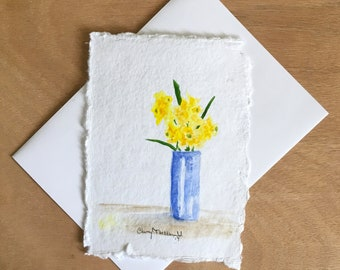 """Daffodils for You in a cobalt blue vase. A nice thank you card or Mother's day card. Hand-painted watercolor card approx. 4.5""""x6""""."""