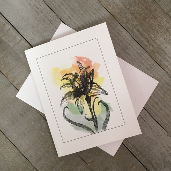 """This Watercolor Day Lily is a 4.25""""x5.5"""" blank notecard created in Mixed Media. Use as a greeting card, thank you note, or just to say hi!"""