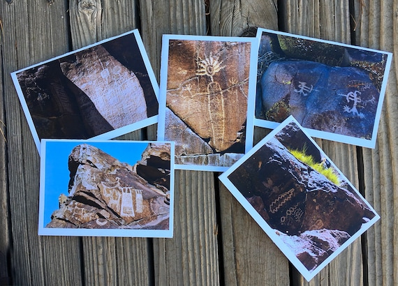 "5""x7"" photo greeting cards series of Petroglyph Rock Art in Little Petroglyph Canyon, China Lake, CA"
