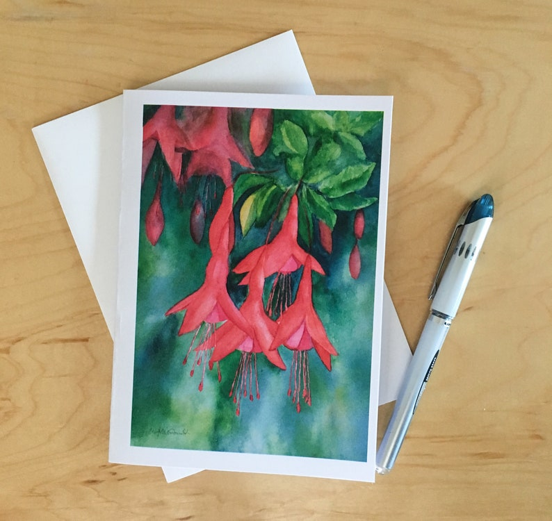 Wild Fuschia is a watercolor printed on a 5x7 image 0