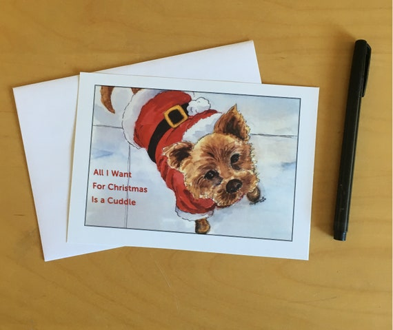 Christmas Pooch, 5x7 holiday card with envelopes, pack of 10 per box. Print of original watercolor