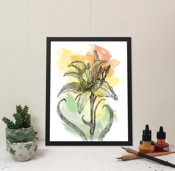 11x14 Matted Print of Sunlit Day Lily with Digital Watercolor.