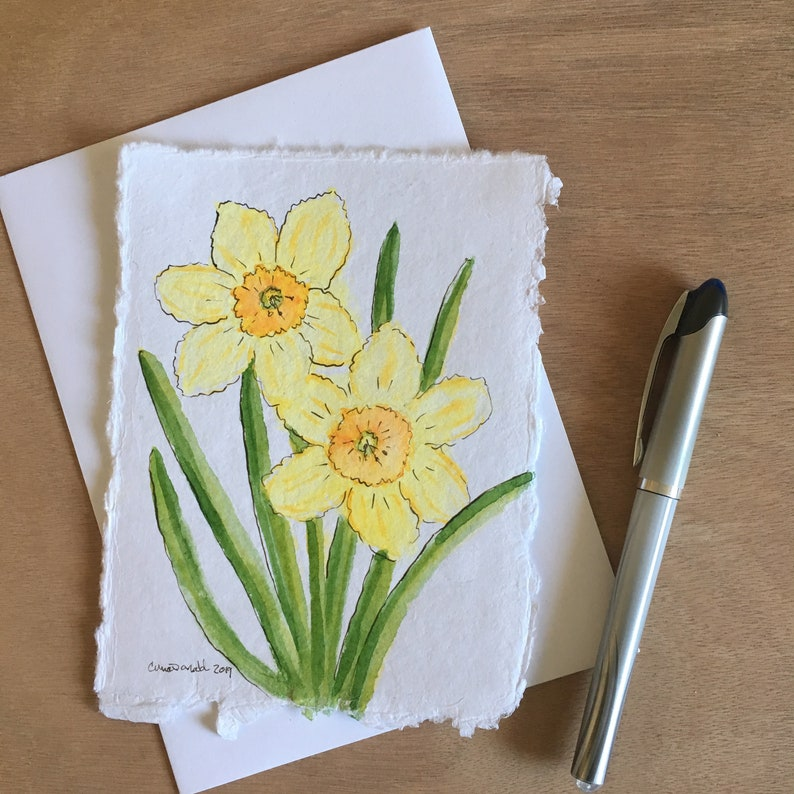 Daffodils that bloom all year long  Hand-painted watercolor image 0