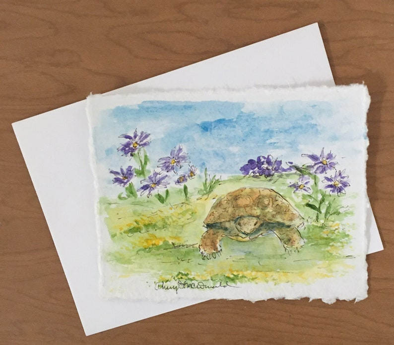 Desert Tortoises love Spring Flowers This is a hand-painted image 0