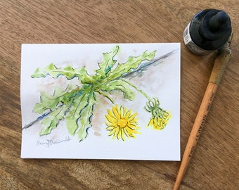 Bloom Where You're Planted, this Dandelion that is growing in the crack in the sidewalk is a  5x7 hand painted watercolor card.