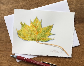 Celebrate Autumn with this hand-painted card with watercolor and sepia pen harvest greeting card of a Maple Tree Leaf