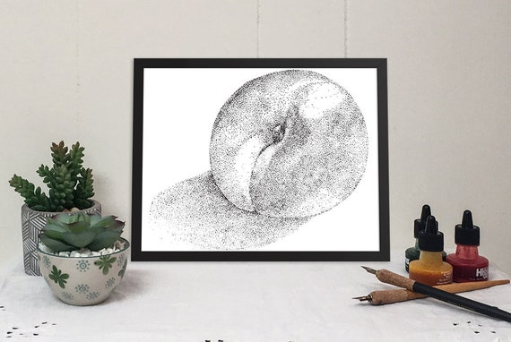 11x14 matted print of a ripe nectarine stippled pen & ink drawing
