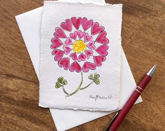 """Hearts and Flowers! Is a red and pink flower motif created with hearts. A Handmade Watercolor Valentine approx. 4.5""""x6"""". Spread the love!"""