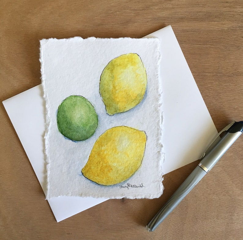 Summer Freshness in Watercolor Two Lemons and a Lime. Kitchen image 0