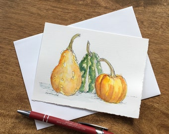 Celebrate Autumn with this hand-painted card with watercolor and black pen harvest greeting card of three gourds