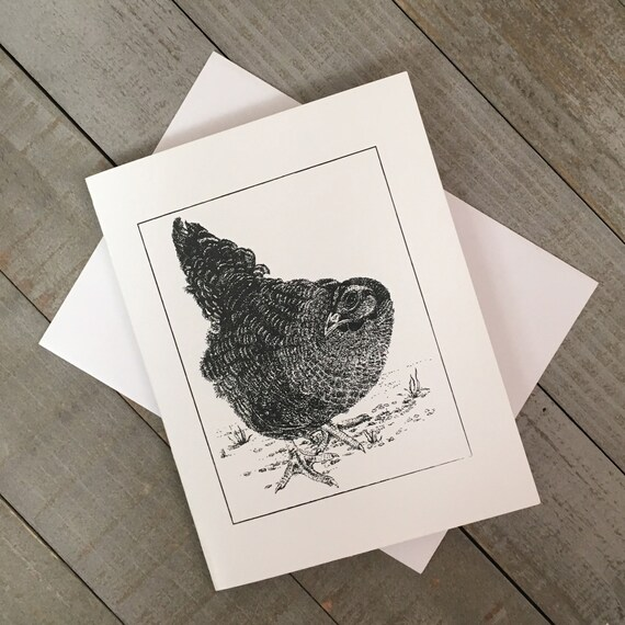 """This Little Black Hen is now a 4.25""""x5.5"""" blank notecard.  Use as a Fall Holiday greeting card, thank you note, or just to say hello!"""