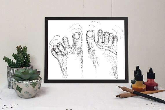 11x14 matted print of wiggling toes stippled pen & ink drawing