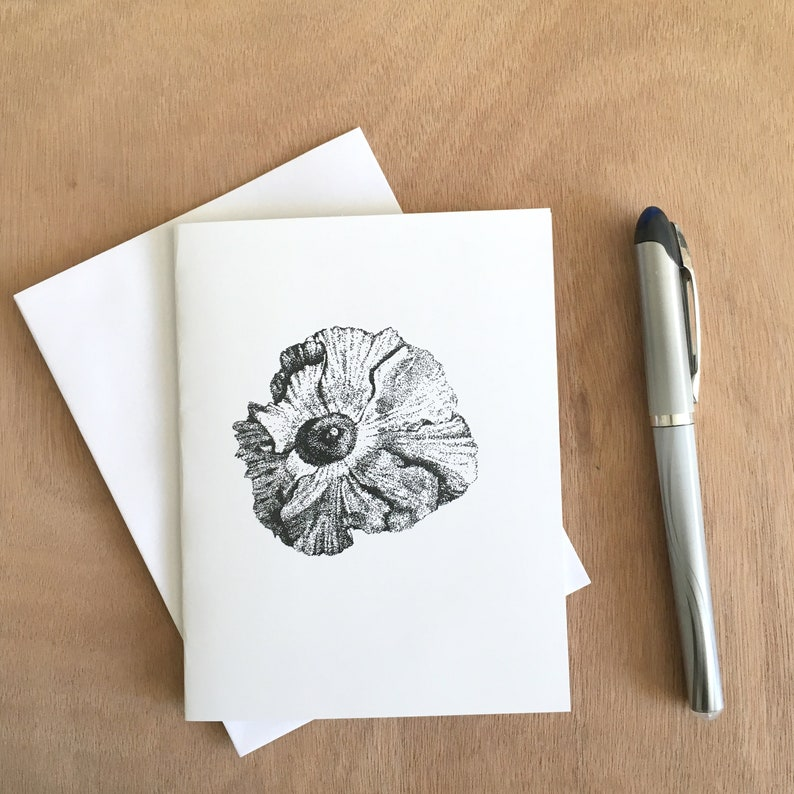 Pen & Ink Matilija Poppy is a blank notecard.  Perfect for image 0