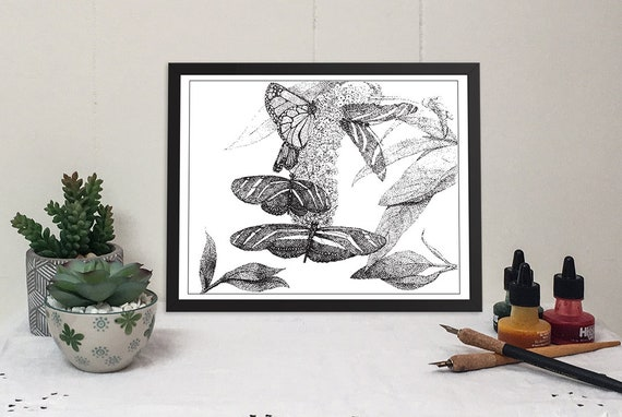 11x14 matted print of butterflies on flowers stippled pen & ink drawing